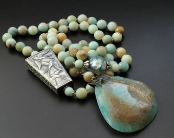 Anne Choi bead necklace hand knotted necklace long boho necklace swallows necklace imagination soars quote bead necklace Basha bead OOAK
