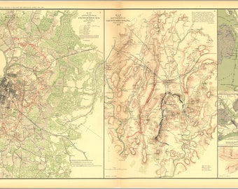 Poster, Many Sizes Available; Civil War Battle Map Petersburg, Gettysburg (Pa), Burnside Expedition, Lovejoy'S Station (Ga)