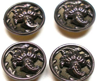 "Antique French BUTTONS, 4 Victorian cornucopia with green background, unused. 9/16""."