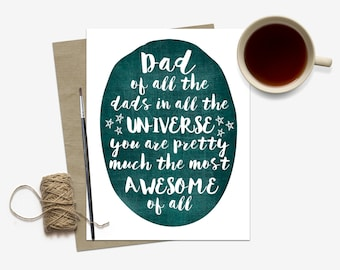 Awesome Father's Day Card / Heartfelt Father's Day Card / For Dad / Stepdad Stepfather Card / Card for Daddy / Dad Birthday Greeting Card