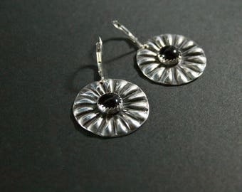 Sterling Silver Concho Earrings With Onyx
