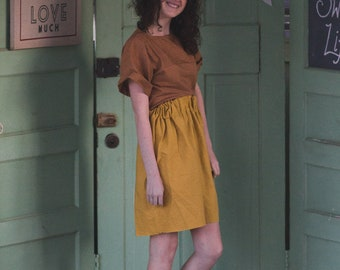 Mustard tulip skirt, earth tone striped tee