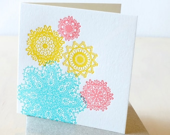 Mother's day card, Easter, Spring colors, doily, pretty bright, all occasion, letterpress card, pastel colors turquoise, mint, yellow, coral