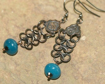 Blue Lampwork Glass and Black Chainmaille Earrings, Handcrafted Rustic Art Glass Jewelry, Modern Style, Dark Patina, Rock n Roll, Long Drops