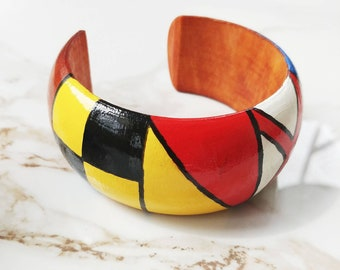 LOVE Handpainted Wood Nautical Flag Bangle Bracelet // International Signal Flags // Statement Jewelry // Nautical Gifts