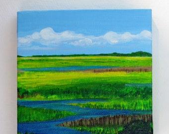 Salt water marsh landscape acrylic painting - Jekyll Island, GA, Georgia - 5x5 inches, wrapped canvas art - home decor - landscape canvas