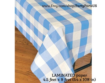 light blue plaid table cover, gingham tablecloth, paper tableware, picnic supplies, boys baby shower decorations, graduation party, birthday