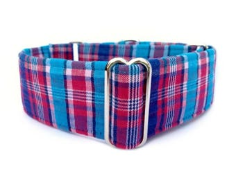 """The Eclectic Hound's Blue Raspberry Plaid Dog Collar - Adjustable 1"""" or 1.5"""" Soft Red, Blue and Turquoise Plaid Martingale or Buckle Collar"""