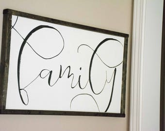 Family Wood Sign, Large Family Sign, Galler Wall, Engraved Framed wood sign, Neutral Home Decor, Gift