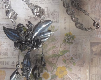 Vintage Sterling and Crystal Necklace—Lily of the Valley