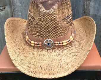 Brown and Tan Straw Cowboy Hat Vintage Look with a Brown Headband Beaded with Brown, Silver and Gold Beads and Silver Star Concho.