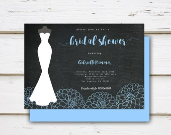 Printable Blue Bridal Shower Invitation, Peonies, Peony, Dress, Gown, Silhouette, Simple, Bachelorette Party, Lingerie, MB037