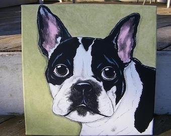 Custom Pet Portrait Painting 12x12 handpainted Pet Memorial