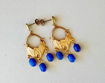 Raw Brass and Denim Lapis Chandelier Earrings with Teardrop Stud