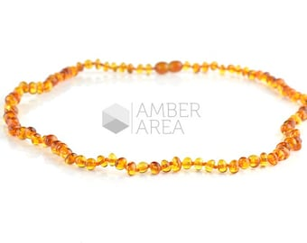 Knotted Amber Necklace, Cognac Amber Necklace, Baroque Style, 54 cm, 7714