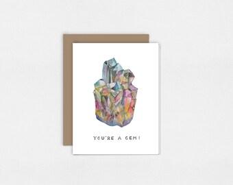 Vous êtes un bijou | Carte de voeux aquarelle Art Print | 5 x 7