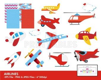Airlines Clip art, Airlines Clip art Vector File, Aeroplane clip art, Instant Download, Airlines digital paper set, Airlines clipart set