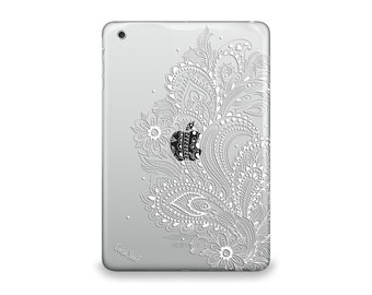 iPad Air case, iPad Mini case, iPad Mini 2 case, iPad 3 case, iPad clear case, custom iPad case, iPad TPU,Flower Paisley Clear case