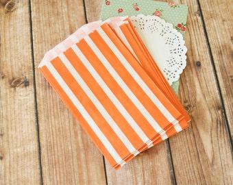 ORANGE Vertical Stripe Middy Bitty Paper Bags