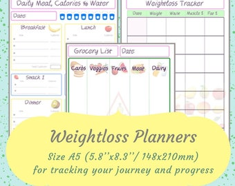 Weightloss Tracking Planner A5 Fitness Planner