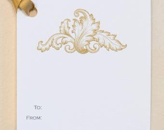 Acanthus Gift Tags - 3 1/4 x 3 1/4 - Set of 6 - Gold Thermography on Handmade Cotton Paper