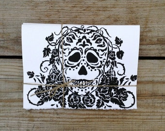 "Dia de los Muertos Hand Printed Cards ; 5"" x 7"" Set of four cards."