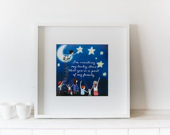 Beautiful Wall Art, Bedroom, Baby Room, Counting My Lucky Stars, Hand Drawn, Hand Made, Printed Design, 30cm x 30cm, decor, decorative art