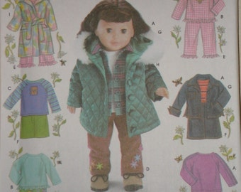 18 in. Doll SEWING PATTERN SIMPLICITY 5733 Top, Skirt, Quilted Jacket, Robe, pj's Uncut