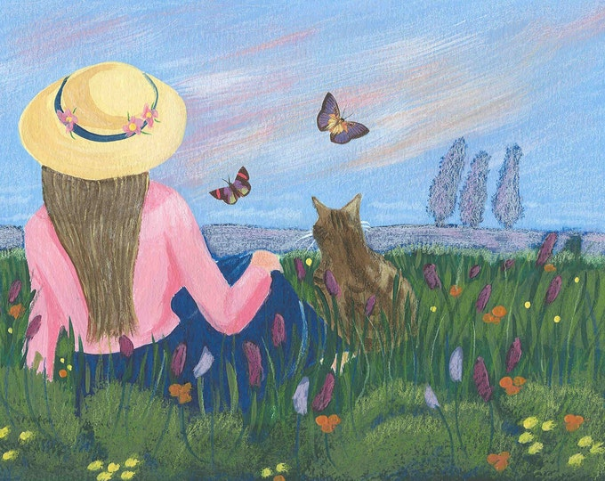 Cat and woman in the meadow blank greeting card