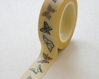 Washi Tape - 15mm - Grey Butterflies on Yellow - Masking Paper Tape No. 293