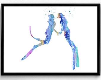 Scuba Divers Couple Love, Room Decor, Colorful Watercolor,Print, Wall Art, gift (995)