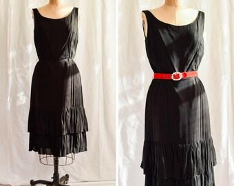 "Miss Elliette   Vintage 1960's Cocktail Dress Black Silk Chiffon 60s Party Dress Layered Ruffled Hem Classic Little Black Dress Bust 36"""