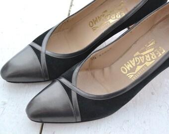 1990s Salvatore Ferragamo Black Suede Heels, Size 8AAAA