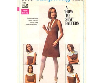 1960s Dress Pattern Detachable Collars Simplicity 8060 Womens Size 10 or 14 Vintage Sewing Pattern
