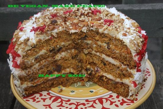 Vegan Carrot Walnut cake , love, animal free cruelty,no eggs,no dairy.