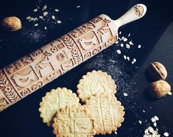 SCANDINAVIAN DESIGN rolling pin, embossing rolling pin, engraved rolling pin by laser