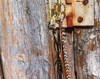 Long feather earrings, gears piece steampunk touch, macrame