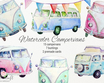 Watercolor Campervans, Watercolor Clipart Camper Vans, Leisure Vehicle, Camper Van, Campervan Illustration