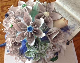 Book Page Paper Flower Wedding Bouquet 20 Handmade Flowers Using Your Favorite Book
