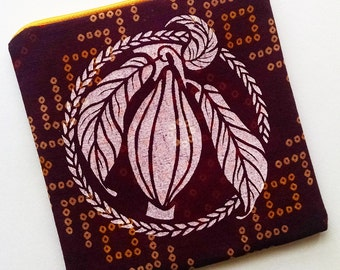 Burgundy and White Cacao Zipper Pouch