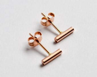 14k Rose Gold Bar Earrings - Minimalist 14K Rose Gold Studs - 14Kt Second Hold or Cartilage Earrings - 14 Karat Pink Gold Nickel Free Bars
