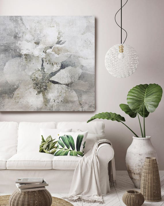 """Lightly Frosted 2. Rustic Floral Painting, White Gray Rustic Large Floral Canvas Art Print up to 48"""" by Irena Orlov"""