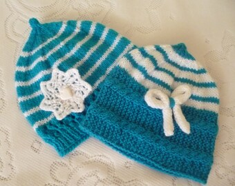 ON SALE Knitted Baby Hats, Hats for Twins, Take Home Baby, Baby Shower Gift, Knit Baby Bonnet, Baby Girl Hats, Hats and Caps, Baby Bonnet.