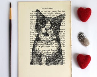 Black Cat Print on Vintage Book Page from Lovable Beasts