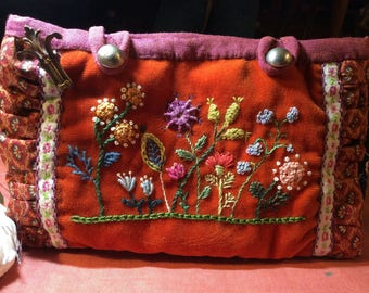 pouch,hand embroidered OOAK, all handstitched