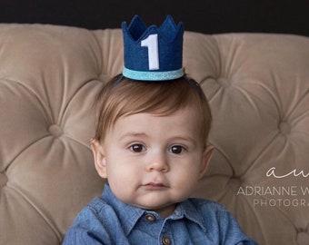 Boy 1st Birthday Crown ||  1st Birthday Party Hat || First Birthday Crown || Boy 1st Birthday Outfit || Light Blue + Denim