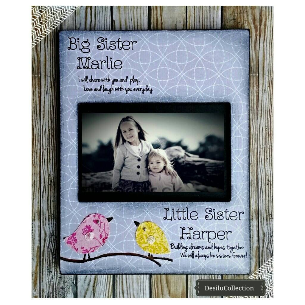 Sisters Picture Frame Birds Big Sister Little Sister Brother