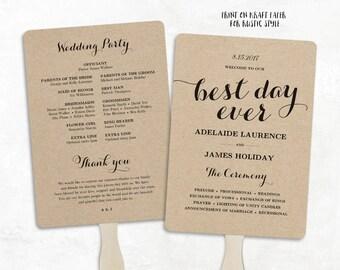 Printable Wedding Program Template, Fan Wedding Program, DIY Kraft Wedding Programs,  Editable text, 5x7, Best Day Ever
