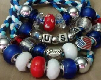 4th of July Faux Suede Bracelet