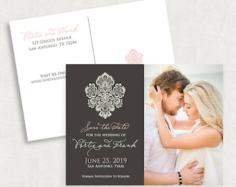 Damask Photo Save the Date Postcards, Photo Save the Date Postcards, Gray and Pink Save the Date Postcards, Damask Save the Date Postcards